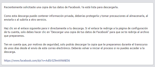 copia seguridad mail facebook