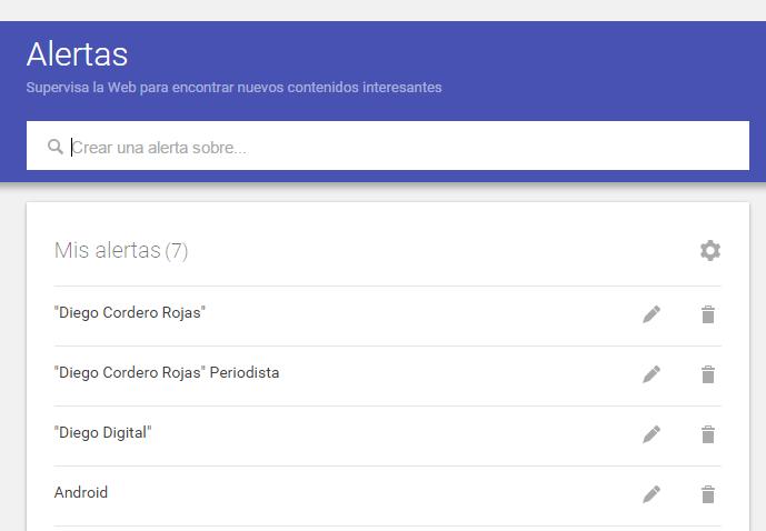 Interfaz alertas de google