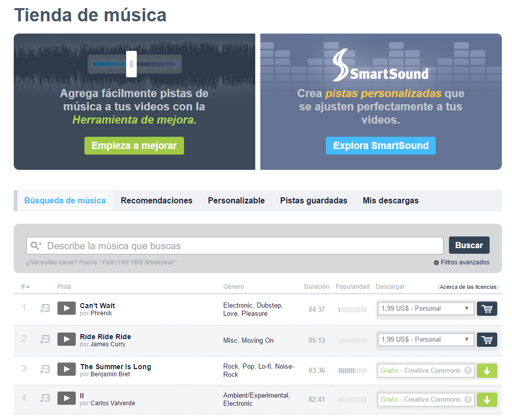 Vimeo tienda de música